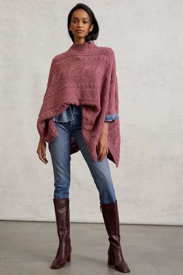 Rosamund Cable-Knit Poncho Sweater