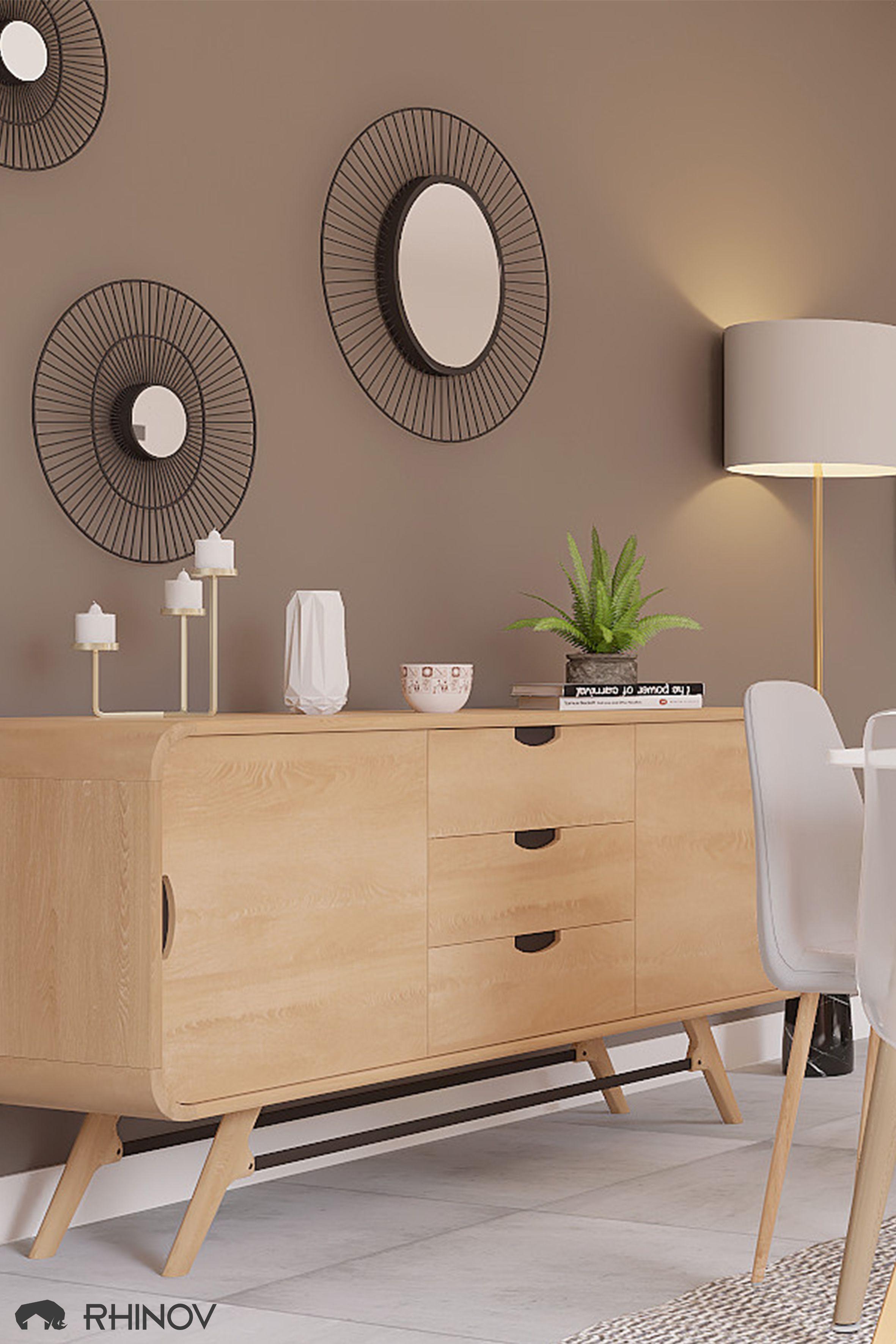 Buffet En Bois Style Nordique Deco Salon Scandinave Mobilier De Salon Contemporain Deco Mur Salon