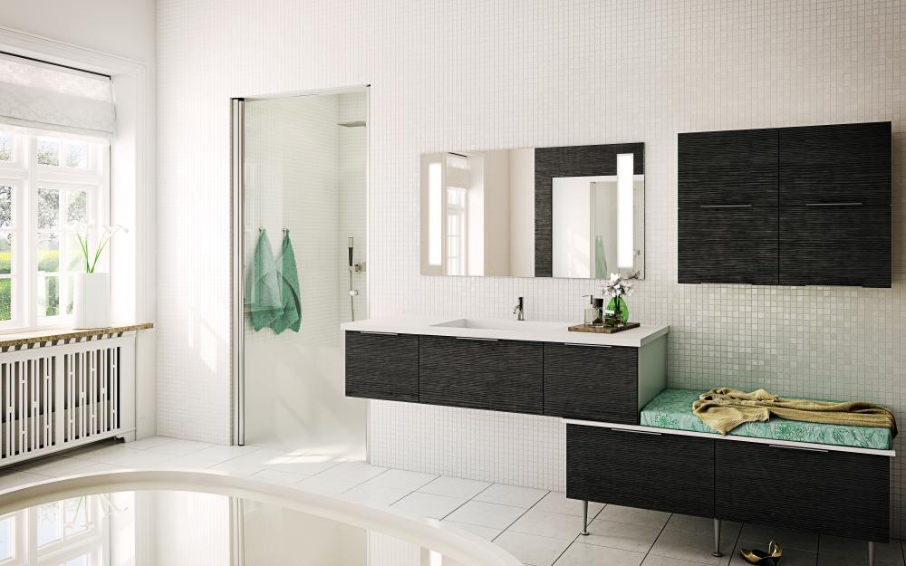 Innostava monitasoinen kylpyhuone
