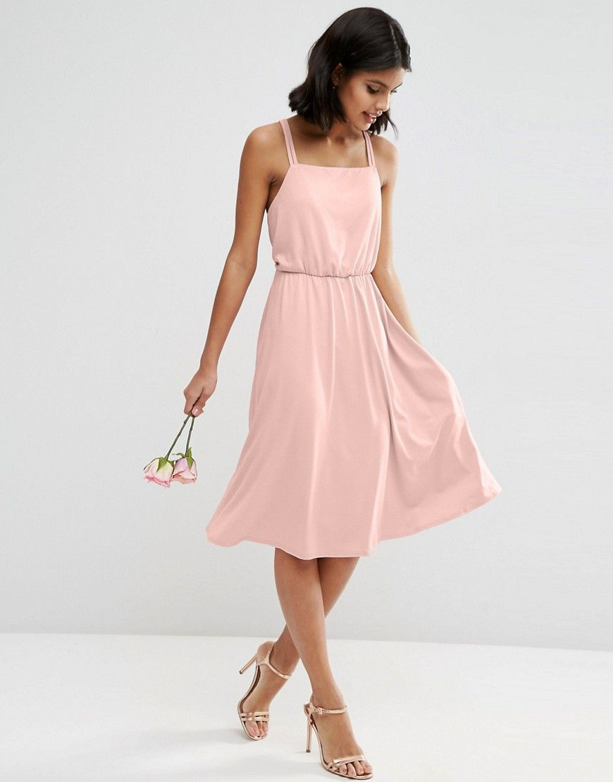 Asos wedding guest dress midi  Image   ASOS WEDDING  Robe milongue en crêpe croisée dans le dos