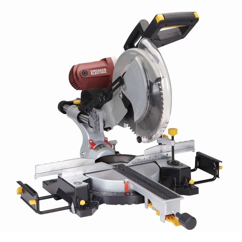 Chicago Electric Power Tools 61776 12 In Double Bevel Sliding Compound Miter Saw With Laser Guide System