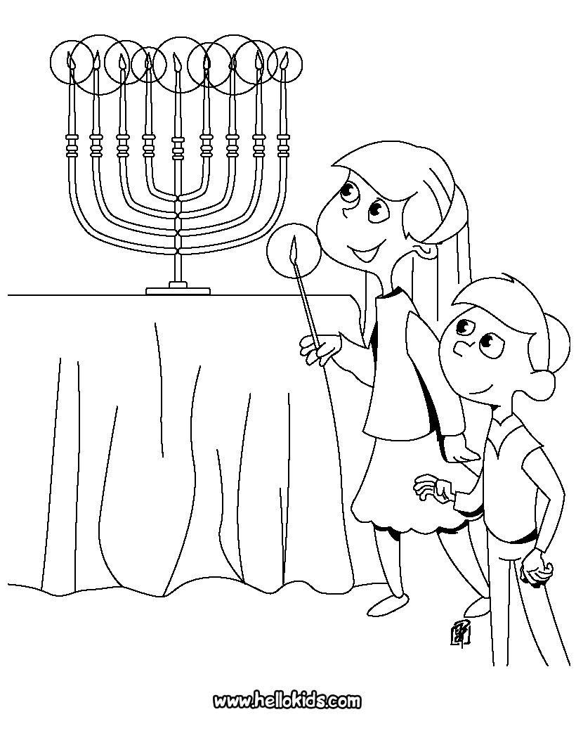 HANUKKAH coloring pages - Kids lighting the Menorah | Teacher Stuff ...