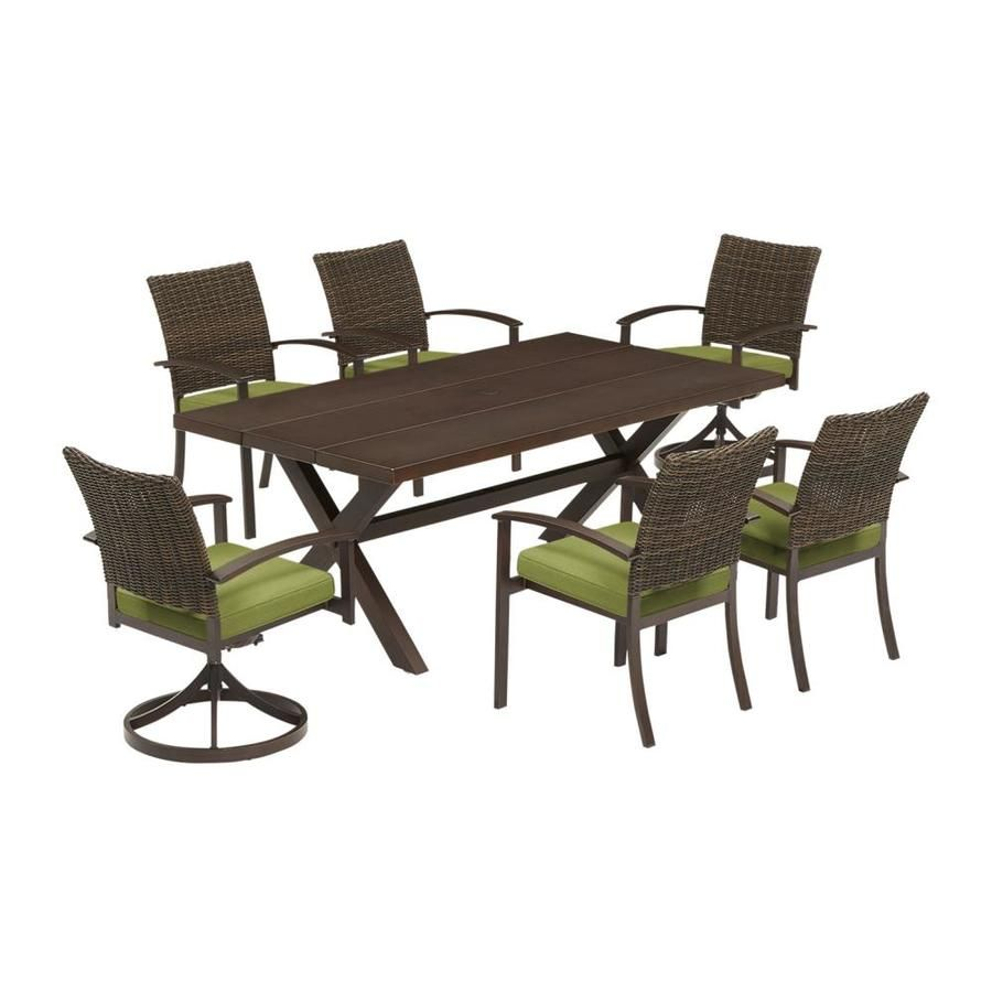 Atworth 7 Piece Brown Metal Frame Patio Dining Set With Spectrum Cilantro Cushions Buy Patio Furniture Patio Set Outdoor Dining Spaces