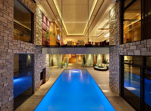 walkway above the pool creates a cool visual