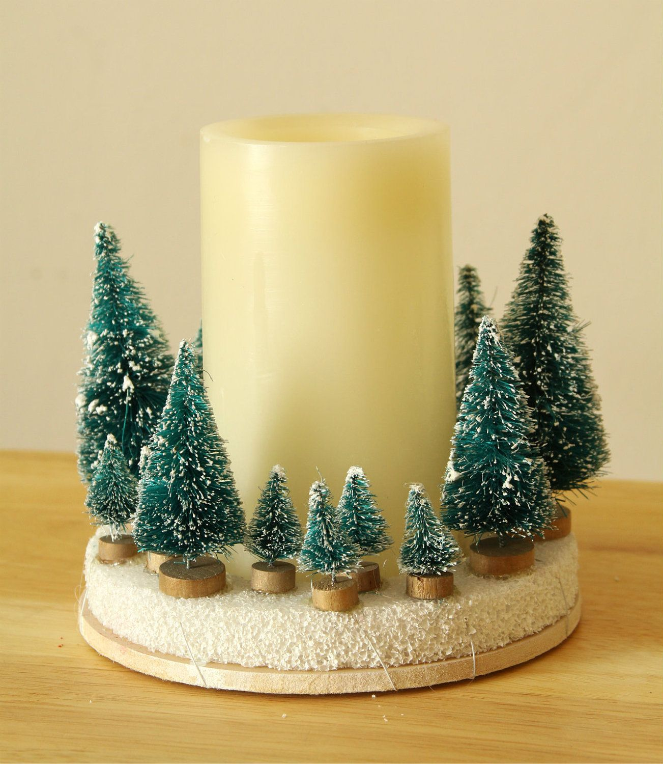 Frosted Evergreen Battery Operated Candle (w/Timer ...
