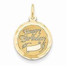 Happy Birthday Charm in 14k Gold