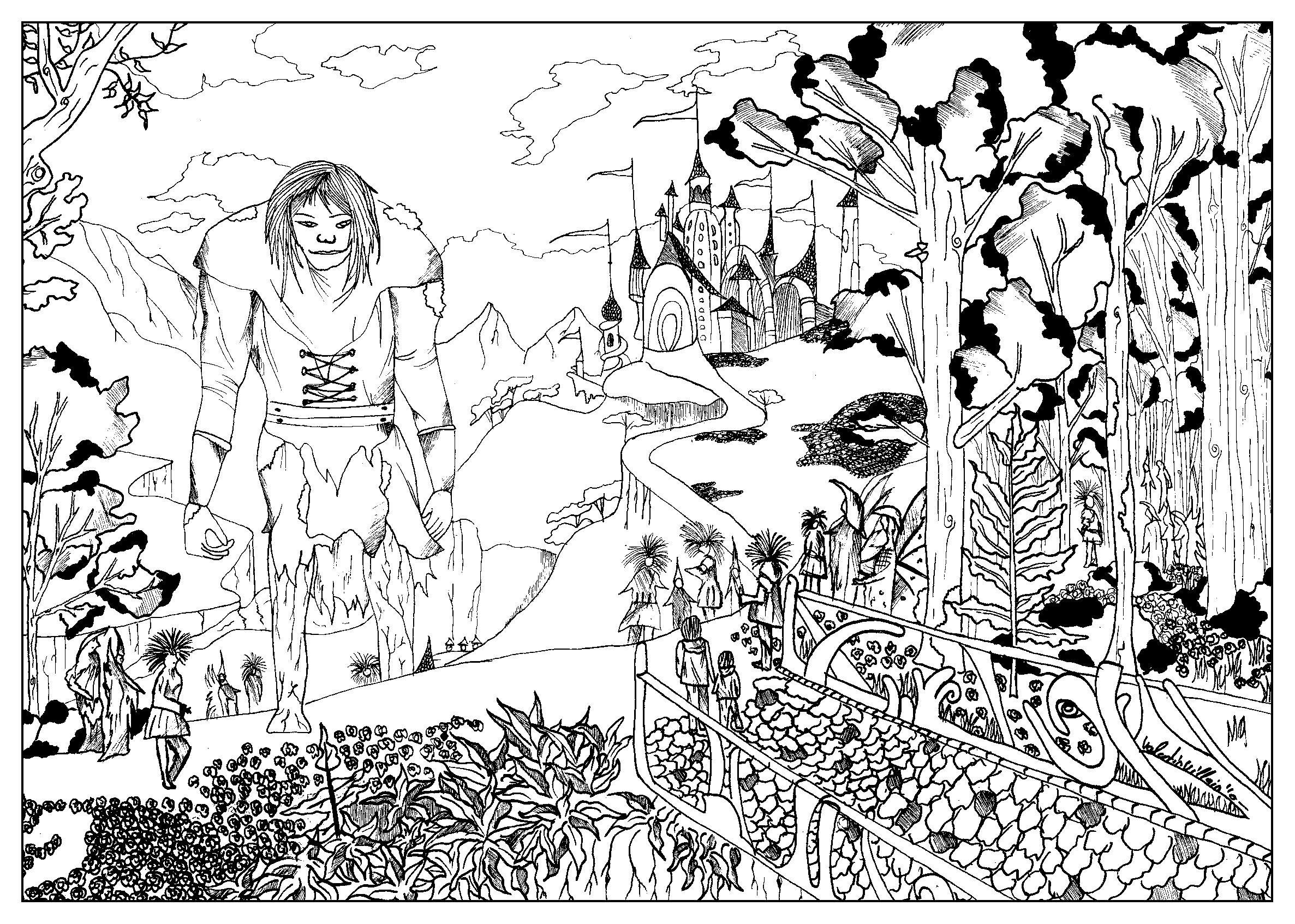 Coloring Page Inspired By The Movie Bridge To Terabithia With A Giant A Castle And A Mysterious Forest Coloring Pages Family Coloring Pages Family Coloring