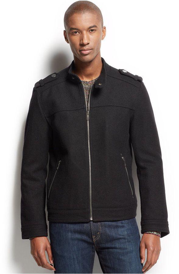 Adam Wool Blend Bomber Jacket   Wool bomber jacket, Wool blend and ...