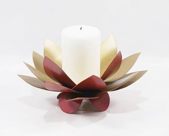 Lotus Flower Candle Holder Metal Flower Artwork Rose Gold Red