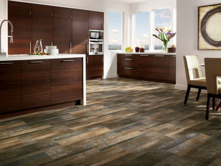 The Stained Concrete Look Vinyl Sheet Flooring Takes Center Stage In This Modern Kitchen Rest Of Décor From Sleek Wooden Cabinetry To