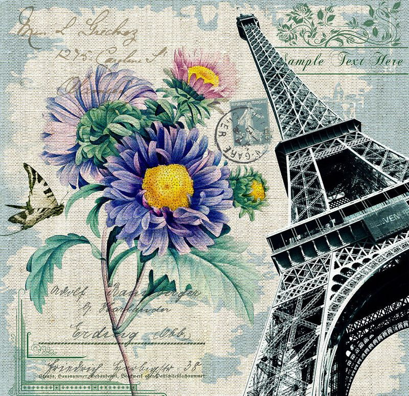 Париж стиль в открытках, поздравление