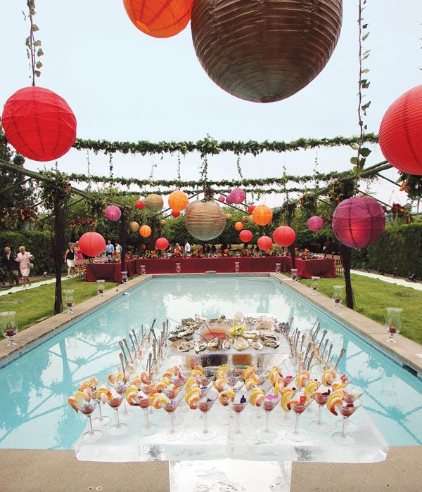 Pool Wedding Ideas find this pin and more on classical wedding floating flowers in pool Cocktails And Or Buffet Setup Poolside Wedding Decorations Poolside Wedding Reception Ideas Http