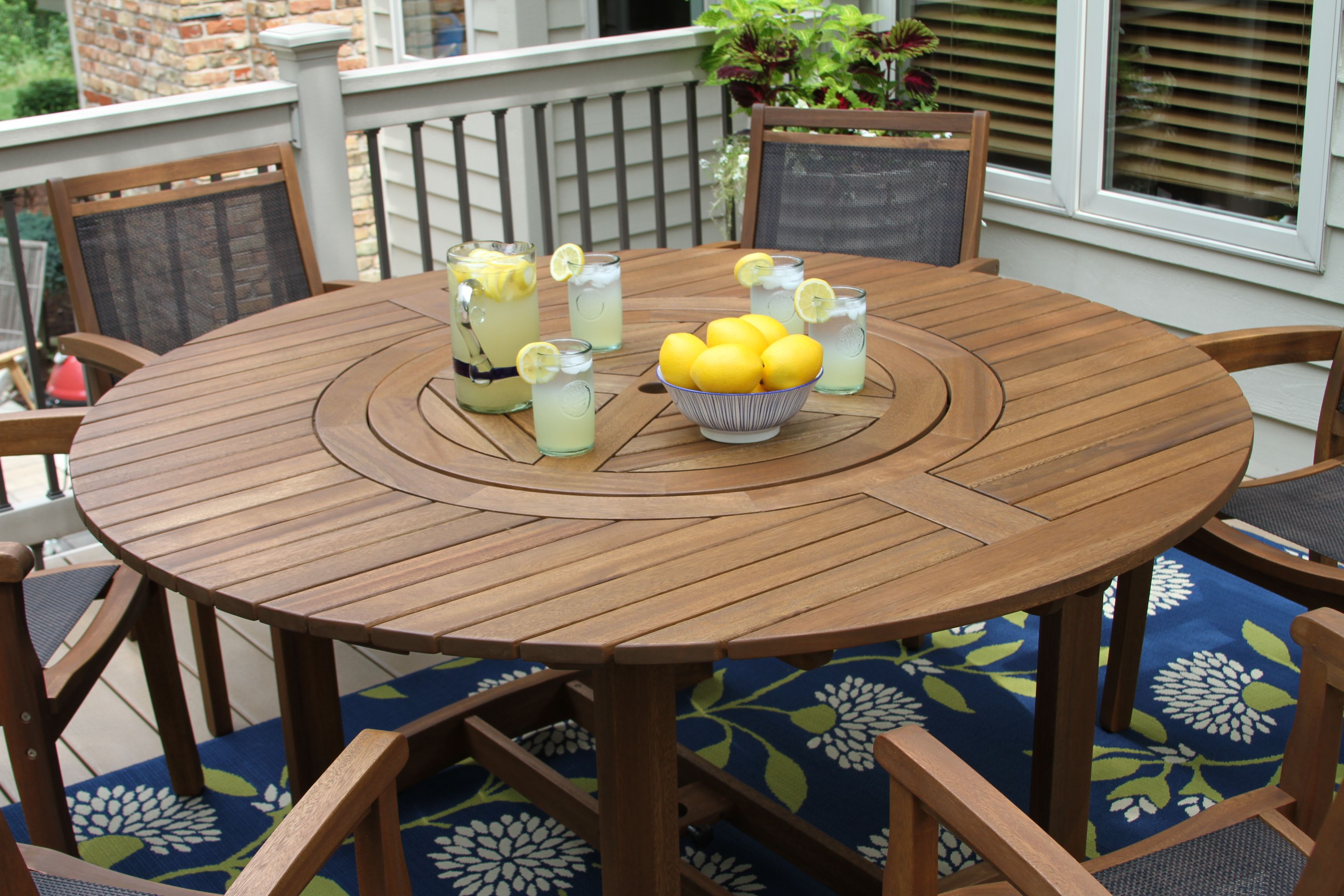 Large Round Eucalyptus Wood 63 Lazy Susan Dining Table Round Patio Table Round Outdoor Dining Table Wood Patio Table