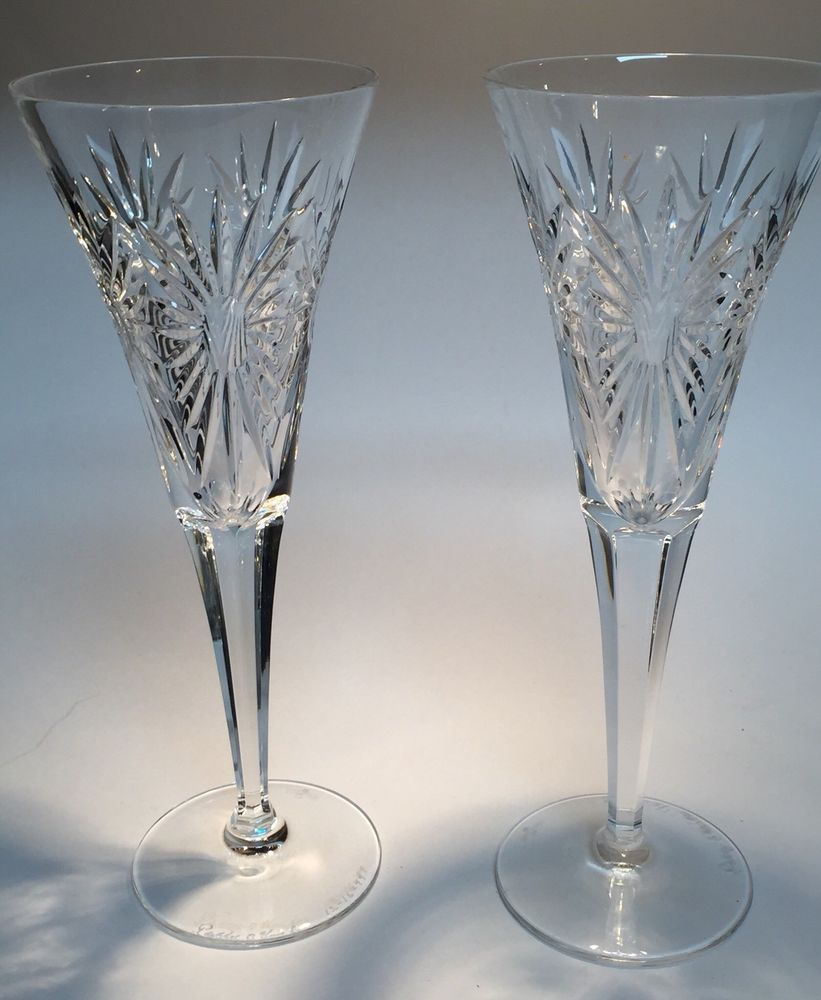 Pair Of Artist Signed Waterford Crystal Millennium Champagne Flutes Health Waterford Waterford Crystal Champagne Flutes Vintage Stemware