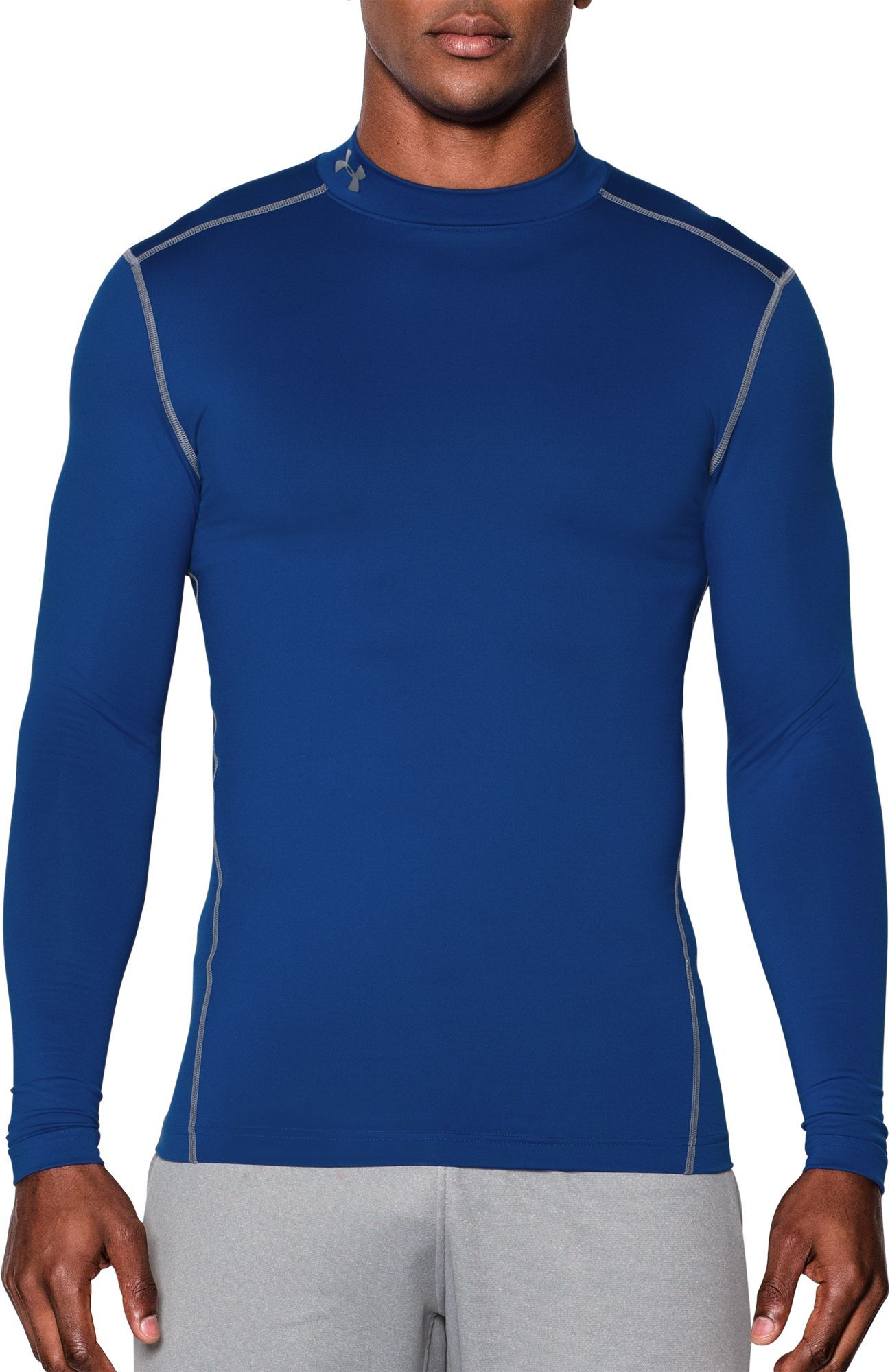 e2e7ea972 Under Armour Men's ColdGear Armour Compression Mock Neck Long Sleeve Shirt,  Size: 4XT, Royal/Silver