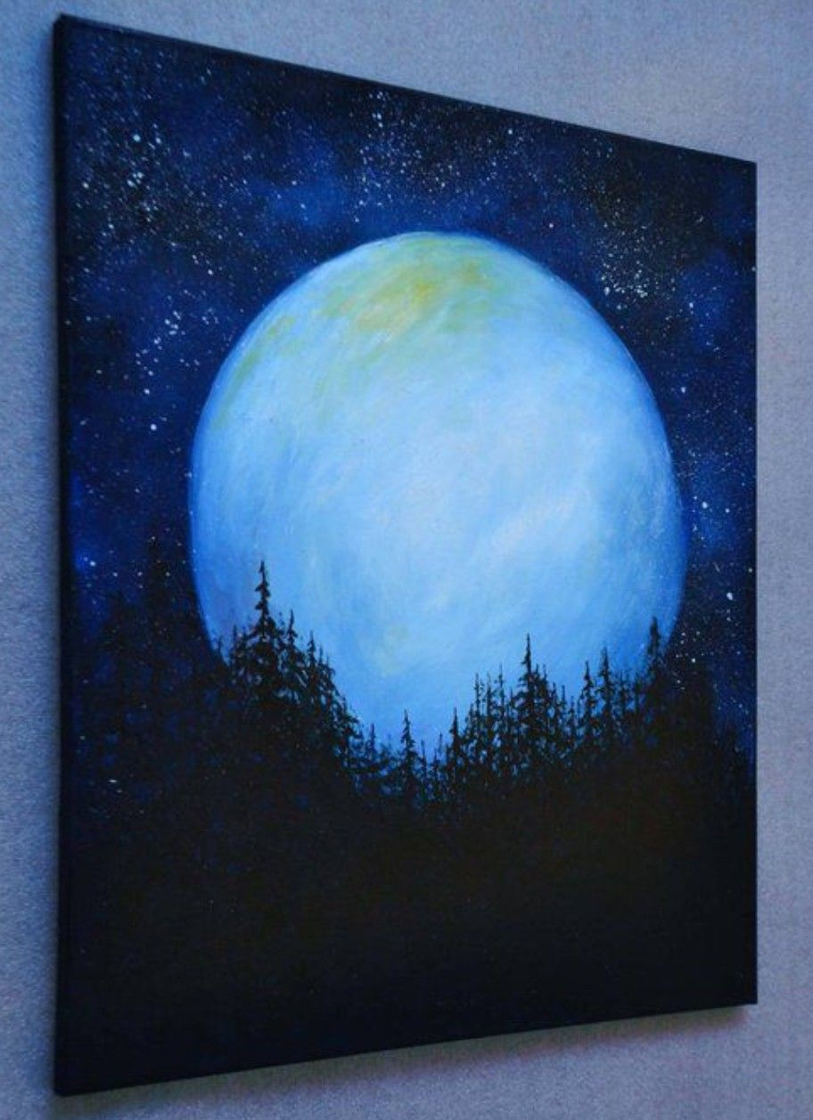 Pin By Walter Besten On Tablo Moonlight Painting Night Sky Painting Forest Painting