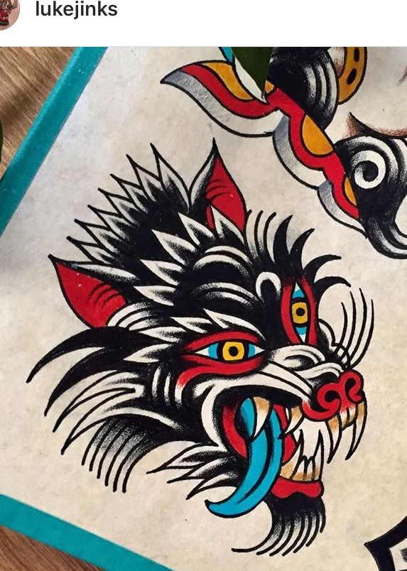 Pin By Primsky On Flash Traditional Tattoo Painting Werewolf Tattoo Traditional Tattoo Flash
