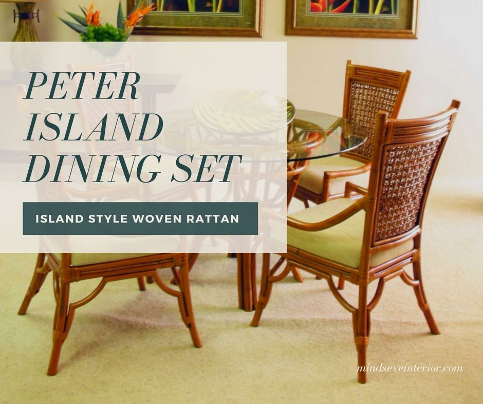 With A Pecan Finish An Attractive Woven Rattan Back This Dining Set Creates The Right