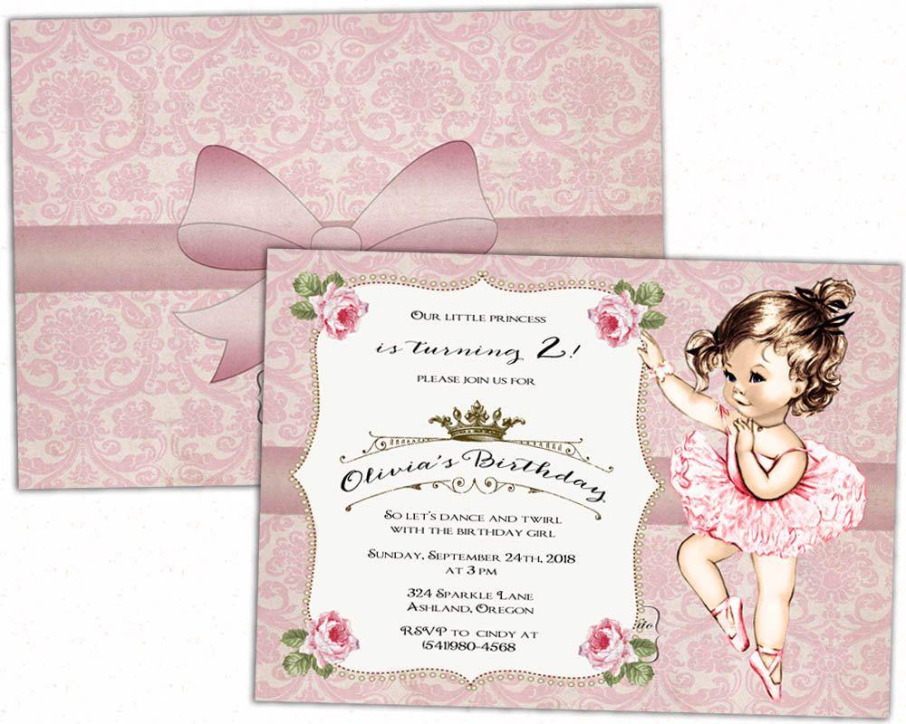 Ballerina Birthday invitation - Ballerina birthday party - Ballerina ...