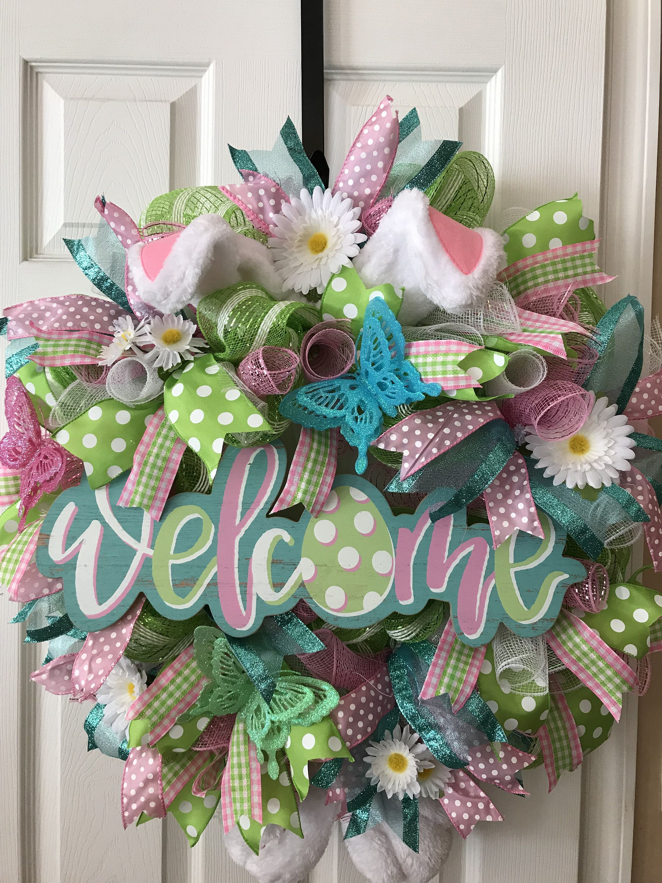Photo of Easter Wreath, Easter Spring Wreath, Deco mesh Wreath, Mother's Day Gift, Birthday Gift, Easter Home Decor, Front Door Decor, housewarming