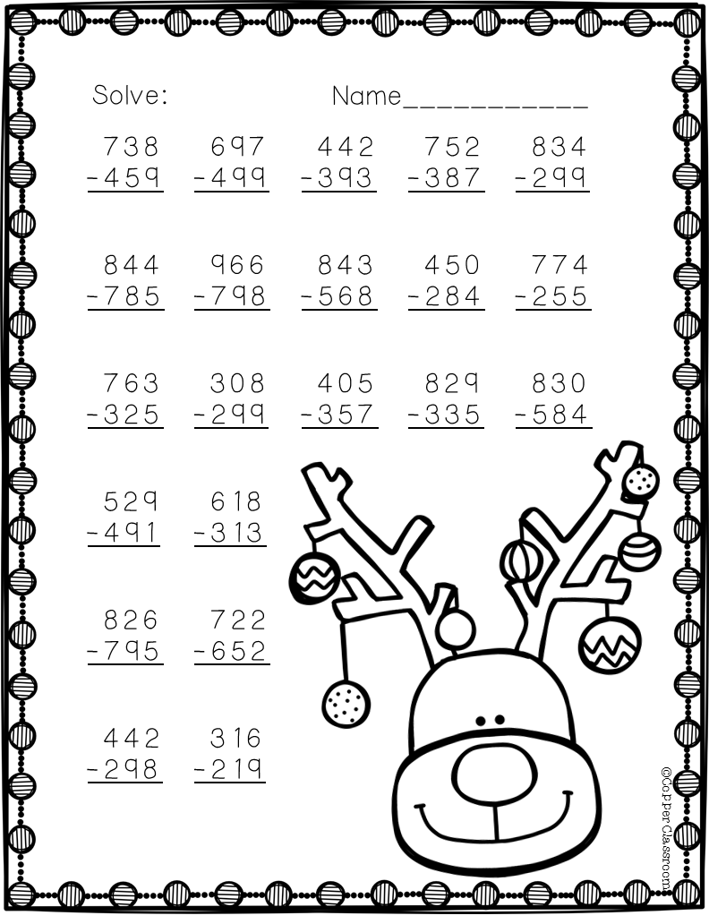 Free Three Digit Subtraction With Regrouping Christmas Theme 3.NBT.2    Fichas de exercícios de matemática [ 1032 x 792 Pixel ]