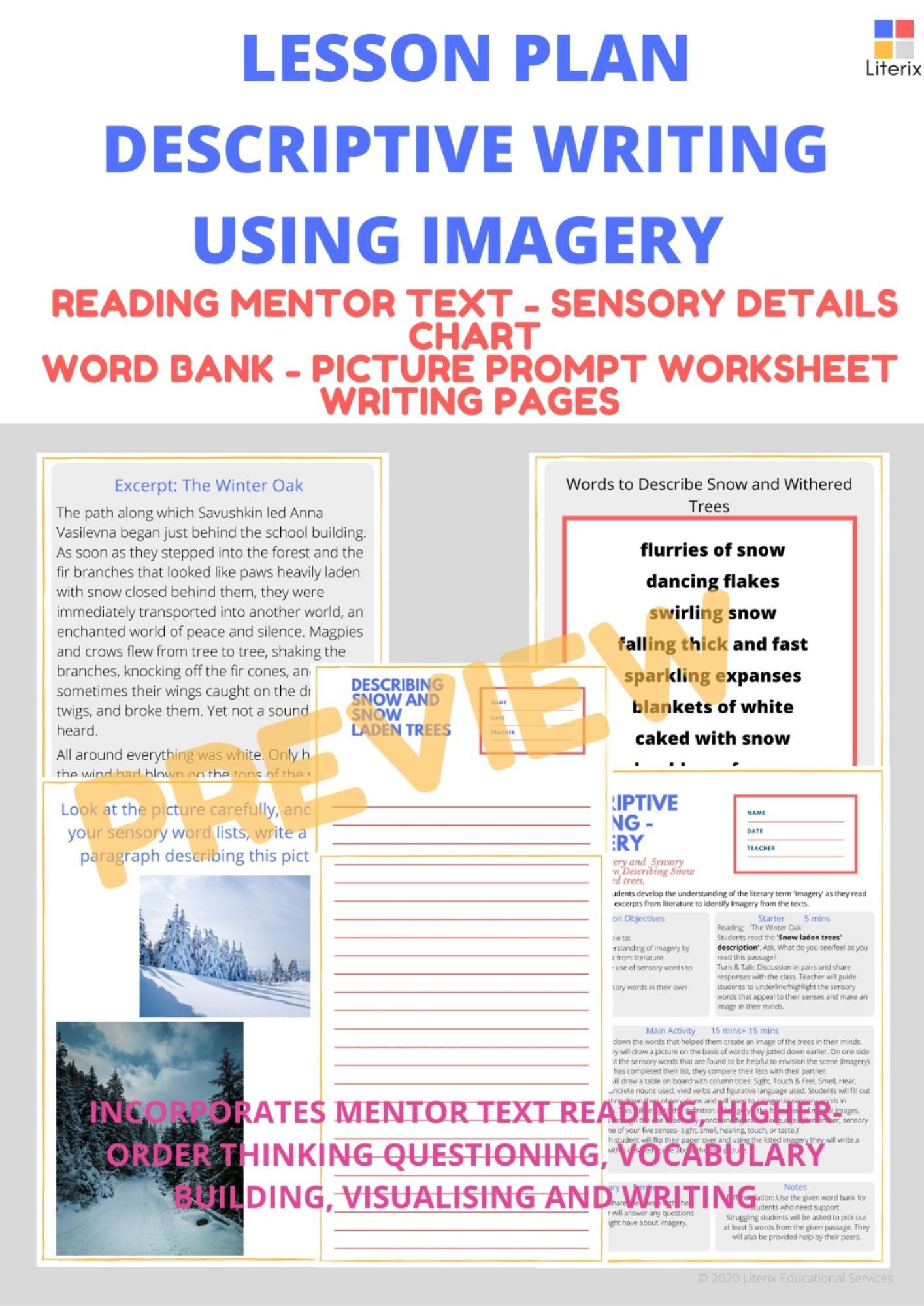 Descriptive Writing Using Imagery Lesson Plan Reading