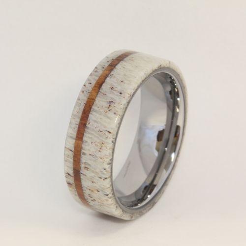 deer antler with oak pinstripe titanium ring jewelrybyjohan jewelry on artfire i want one pinterest titanium ring deer antlers and wedding - Deer Antler Wedding Rings