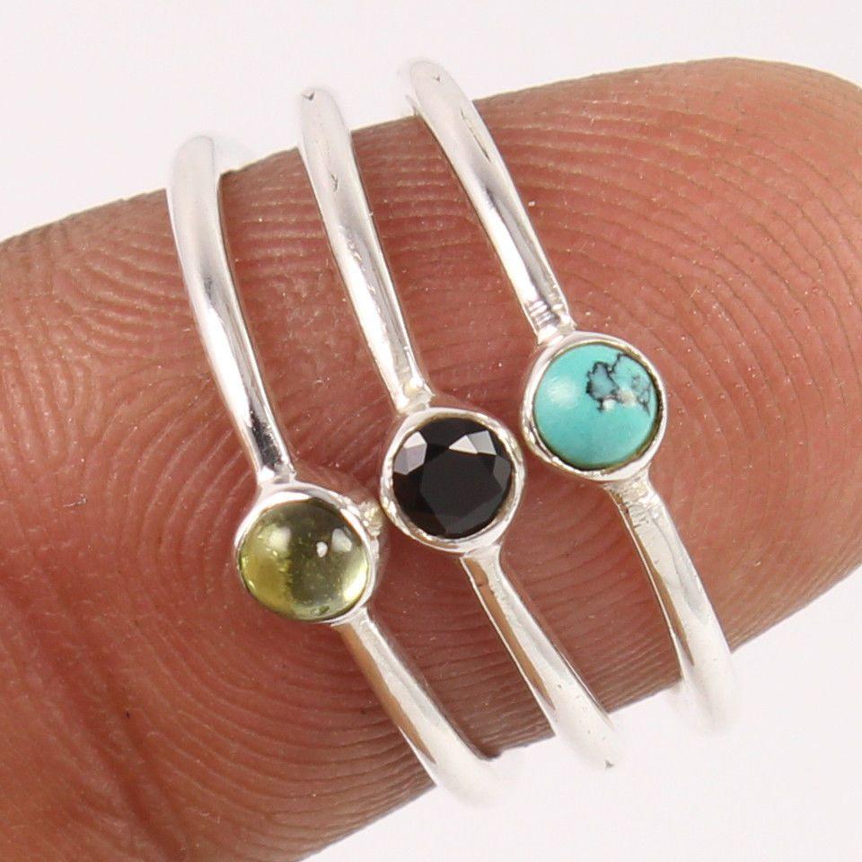Nice 925 Sterling Silver 3 Pcs Ring Size US 4.75 Natural MULTI-COLOR Gemstones #Unbranded