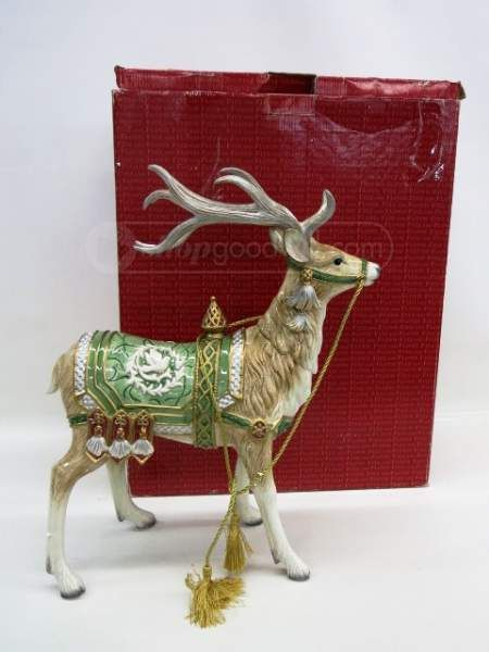 Large Fitz & Floyd Reindeer Holiday Statue in Box ...
