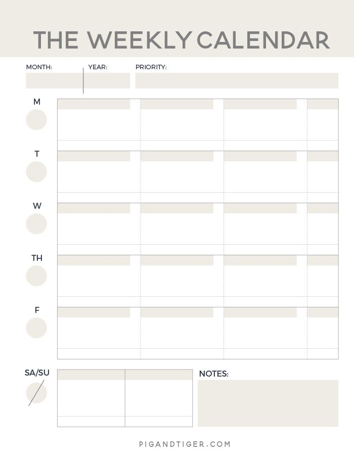 Successful Project Planning  Weekly Calendar