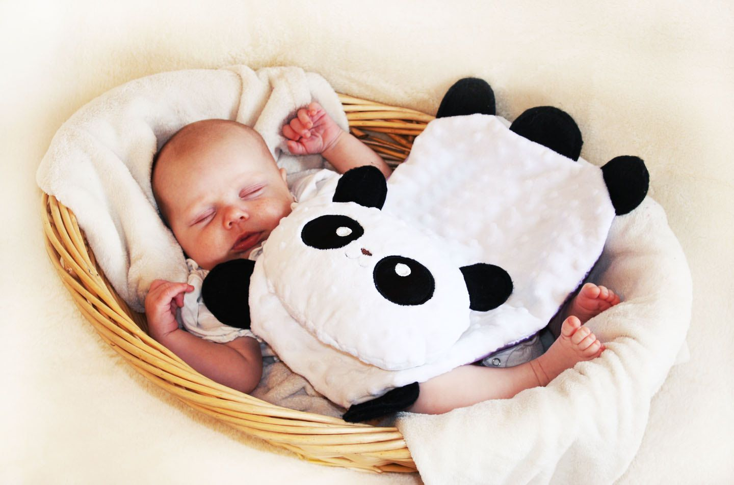Baby Schlafkissen Minky Panda Bear Security Blanket Lovey Blanket Satin Baby