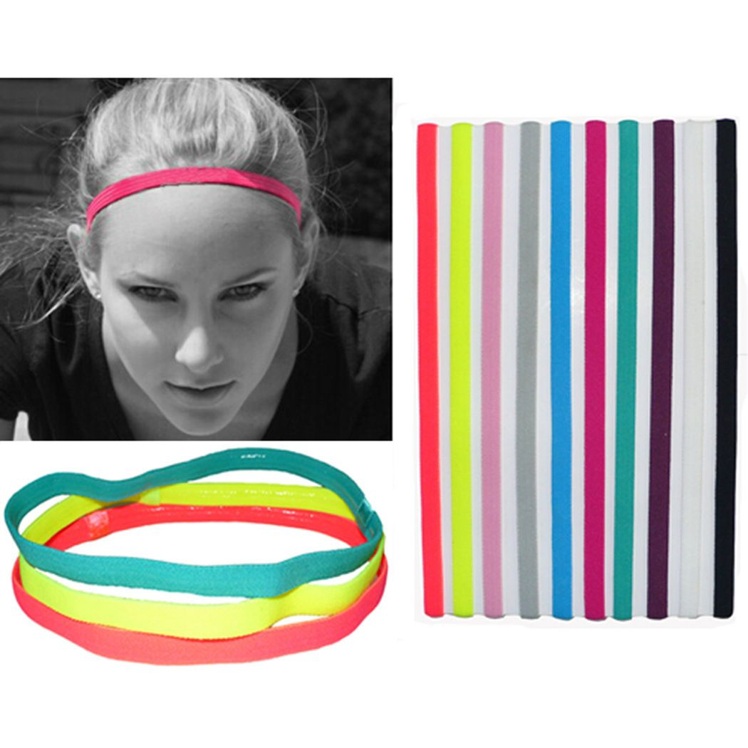 5pcs Women Man Headband Hair Rope Sports Elastic Band Stretch Hair
