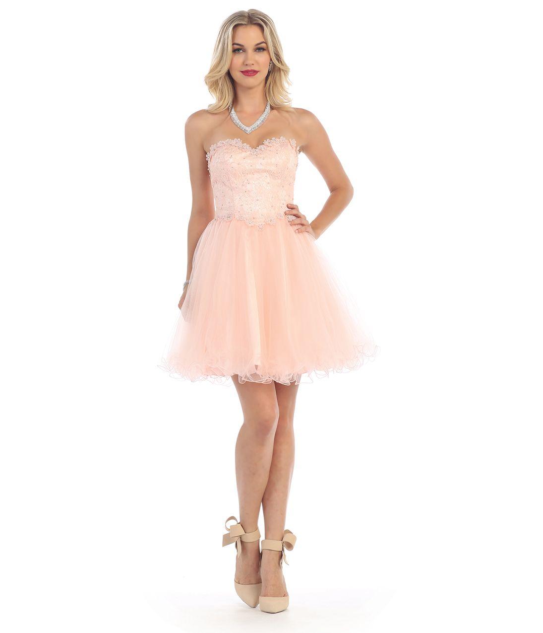 Blush pink strapless embellished sweetheart tulle short