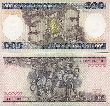 Brazil 500 Cruzeiros 1985 Cedulas Brasileiras Fotos De