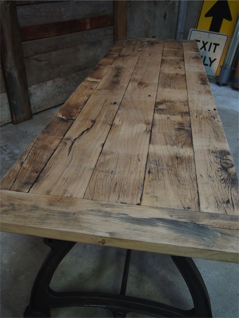 Tres grande table industrielle plateau chene massif 3 - Table en planche de coffrage ...