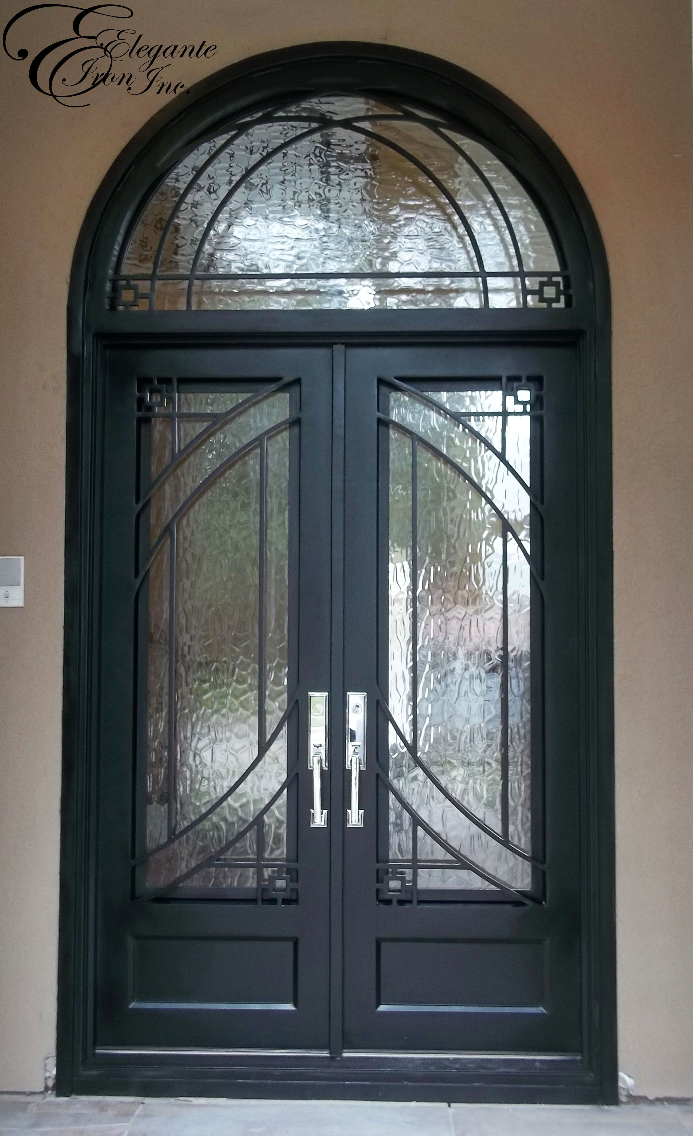 Custom Wrought Iron Door With Arched Transom Iron Front Door Arched Exterior Doors Wrought Iron Doors