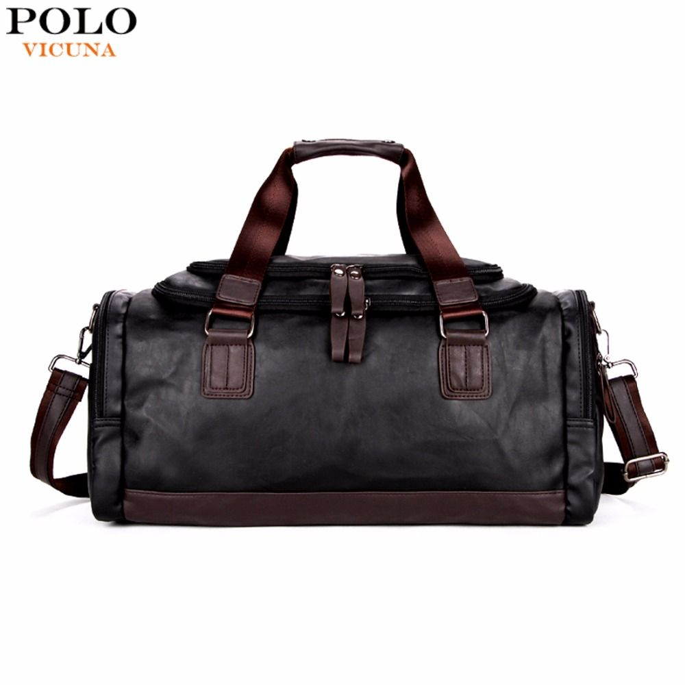 d73975e40a VICUNA POLO Large Capacity Men Travel Bags Simple Contrast Black ...