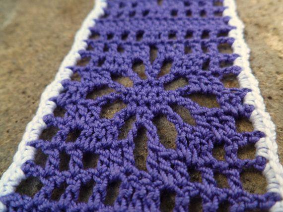 Purple And White Crocheted Flower Bookmark By Ravy17crochetdesign