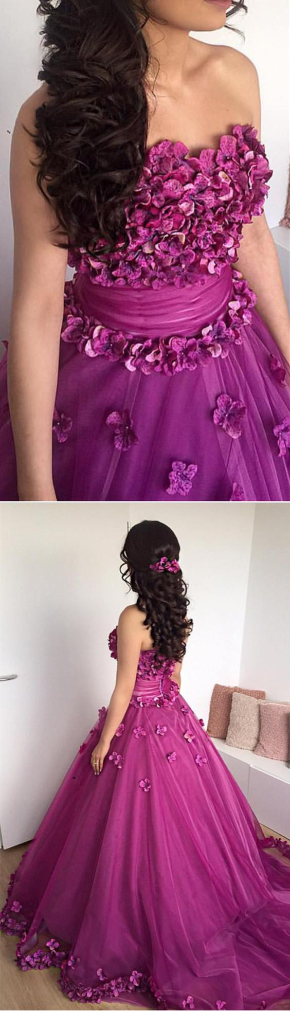 Purple quinceanera dressball gowns prom dressflower prom dresss