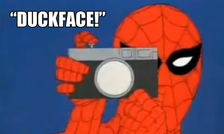 Duckface! Spiderman, Spiderman cartoon, Spiderman meme