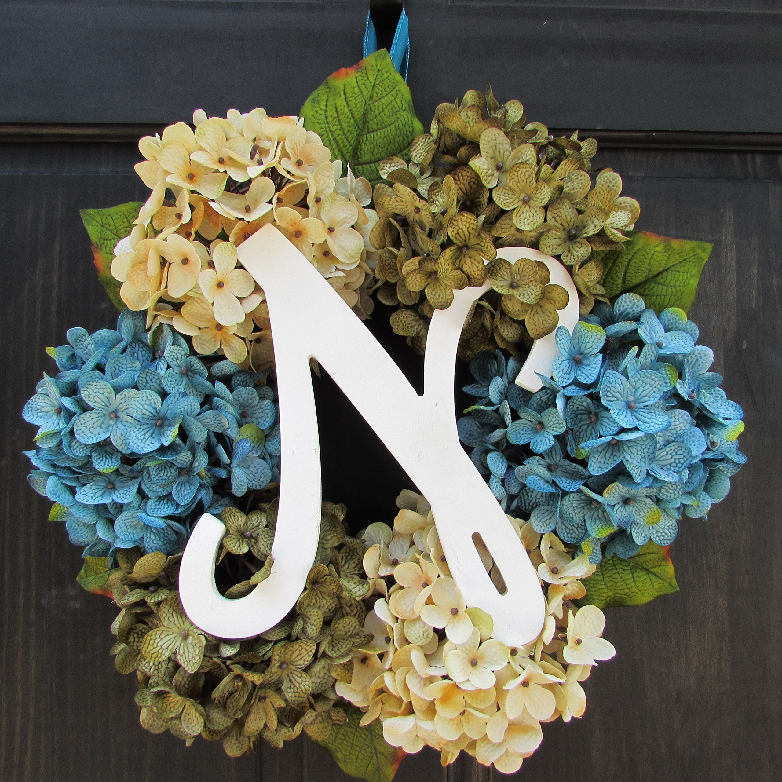 Personalized front door decorations - Personalized Spring Summer Hydrangea Wreath With Monogram Initial Front Door Hanger Letter Decoration