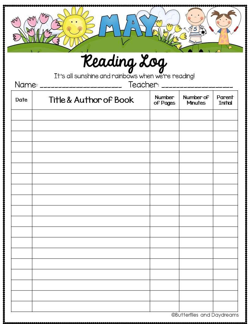 cb5233af1df829e00233db576318cfbe - Kindergarten Reading Log