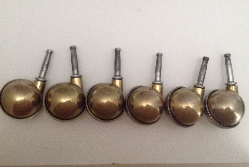Swivel Ball Caster Wheels Set Of 6 Vintage Round Rotating Stem 2 Inch Wheel Ebay Ball Casters Vintage Hardware Casters Wheels