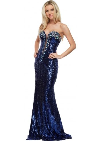 Corset And Dresses Mitzy Cobalt Sequinned Crystal Bustier Long ...
