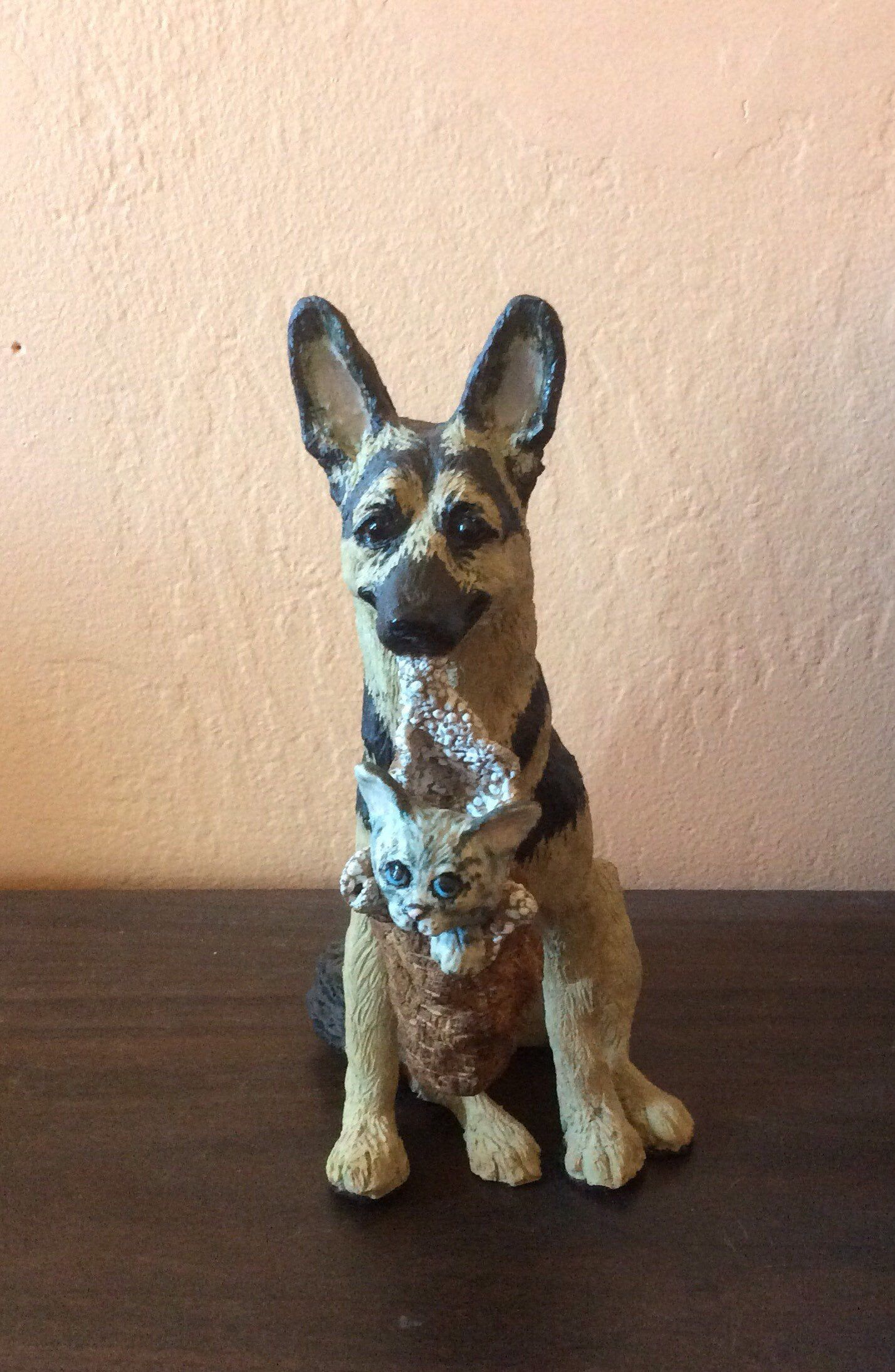 German Shepard with Kitty ceramic dog sculpture #germanshepards Excited to share this item from my #etsy shop: German Shepard with Kitty ceramic dog sculpture #germanshepards