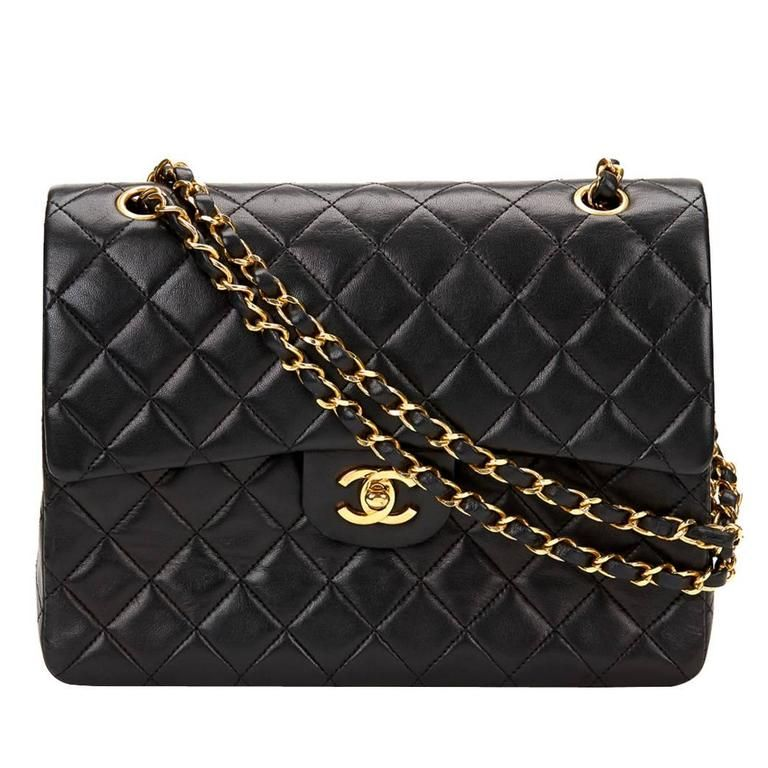 b7510686d2e37e 1990s Chanel Black Quilted Lambskin Vintage Medium Tall Classic Double Flap  Bag | 1stdibs.com