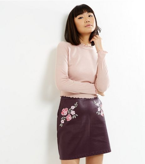 Burgundy Floral Embroidered Leather-Look A-Line Skirt | New Look ...