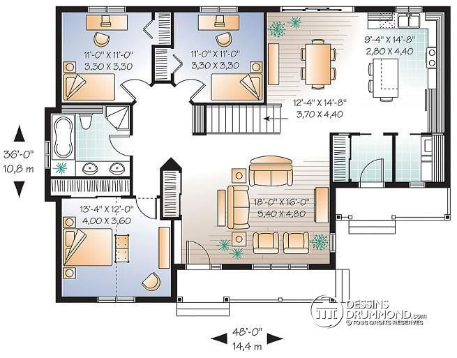 plan de rez de chauss e bungalow conomique l 39 am ricaine 3 chambres grand salon pommeraie. Black Bedroom Furniture Sets. Home Design Ideas