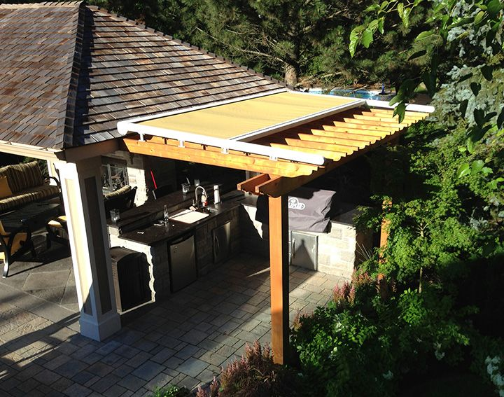Retractable Awning Above Pergola Great Addition To Protect Against Sun And Rain Retractable Pergola Pergola Awning