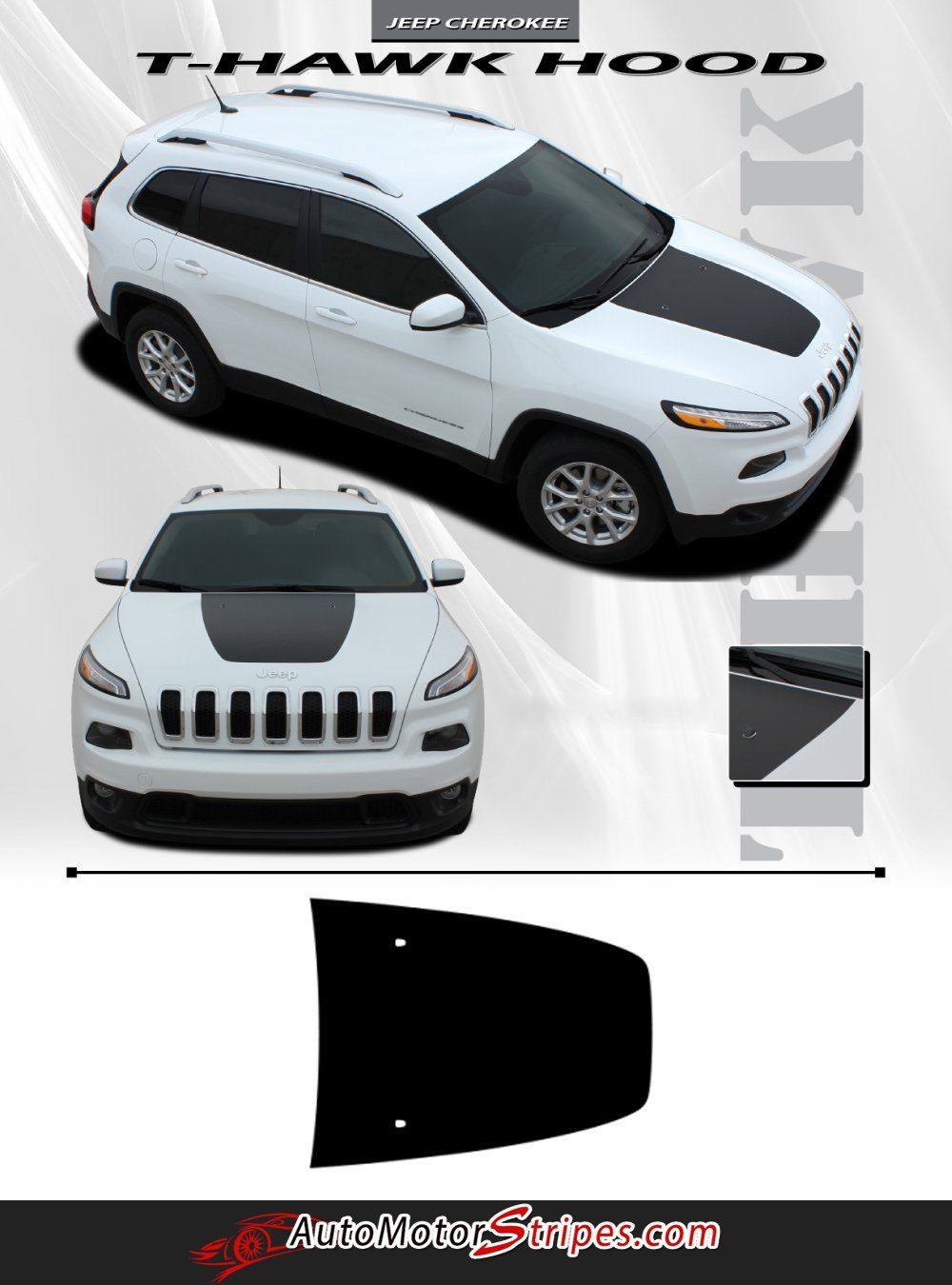 2014 2020 Jeep Cherokee T Hawk Factory Oem Trailhawk Style Center Hood Blackout Vinyl Decal Graphic Stripes Jeep Cherokee Jeep Cherokee Accessories Cherokee